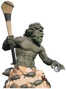 Neptune with hurl-sliotar-medium